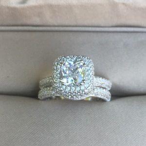 💕2pcs 925 Silver Engagement Ring Wedding Band Set